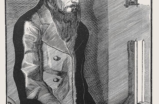 Holzstich von Faworski, Motiv Dostojewski